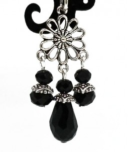 Breloc flower cristale negre