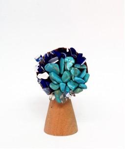 Broșă flower albastră