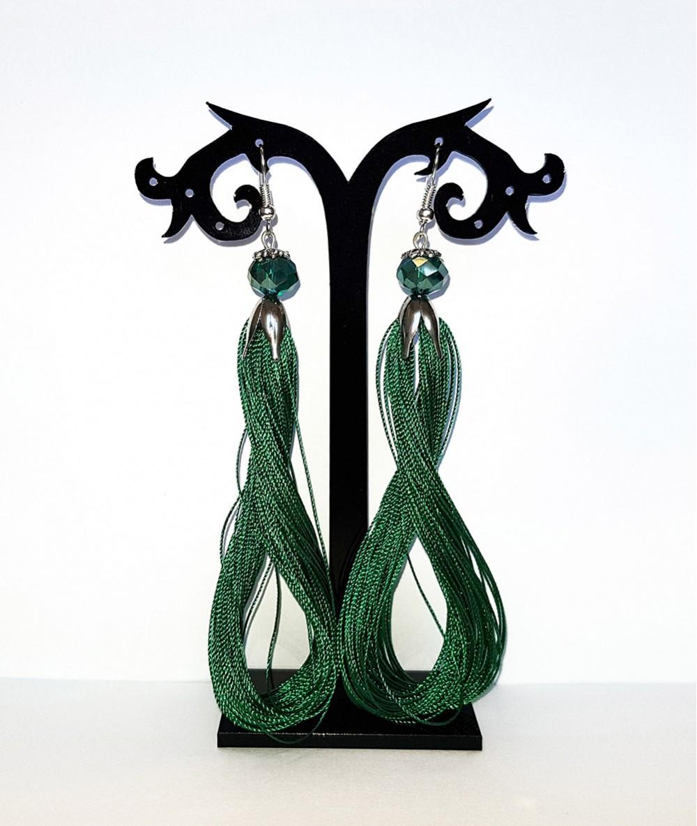Cercei cu ciucuri verzi