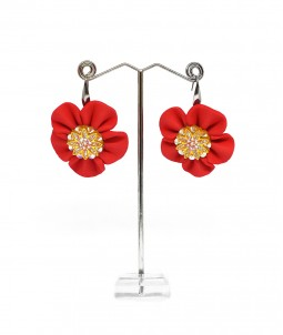 Cercei foam flower roșii