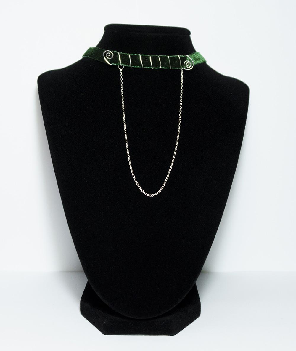 Choker catifea verde