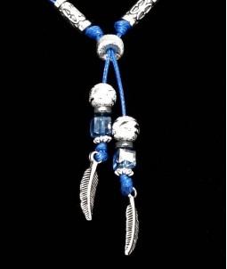Colier reglabil albastru