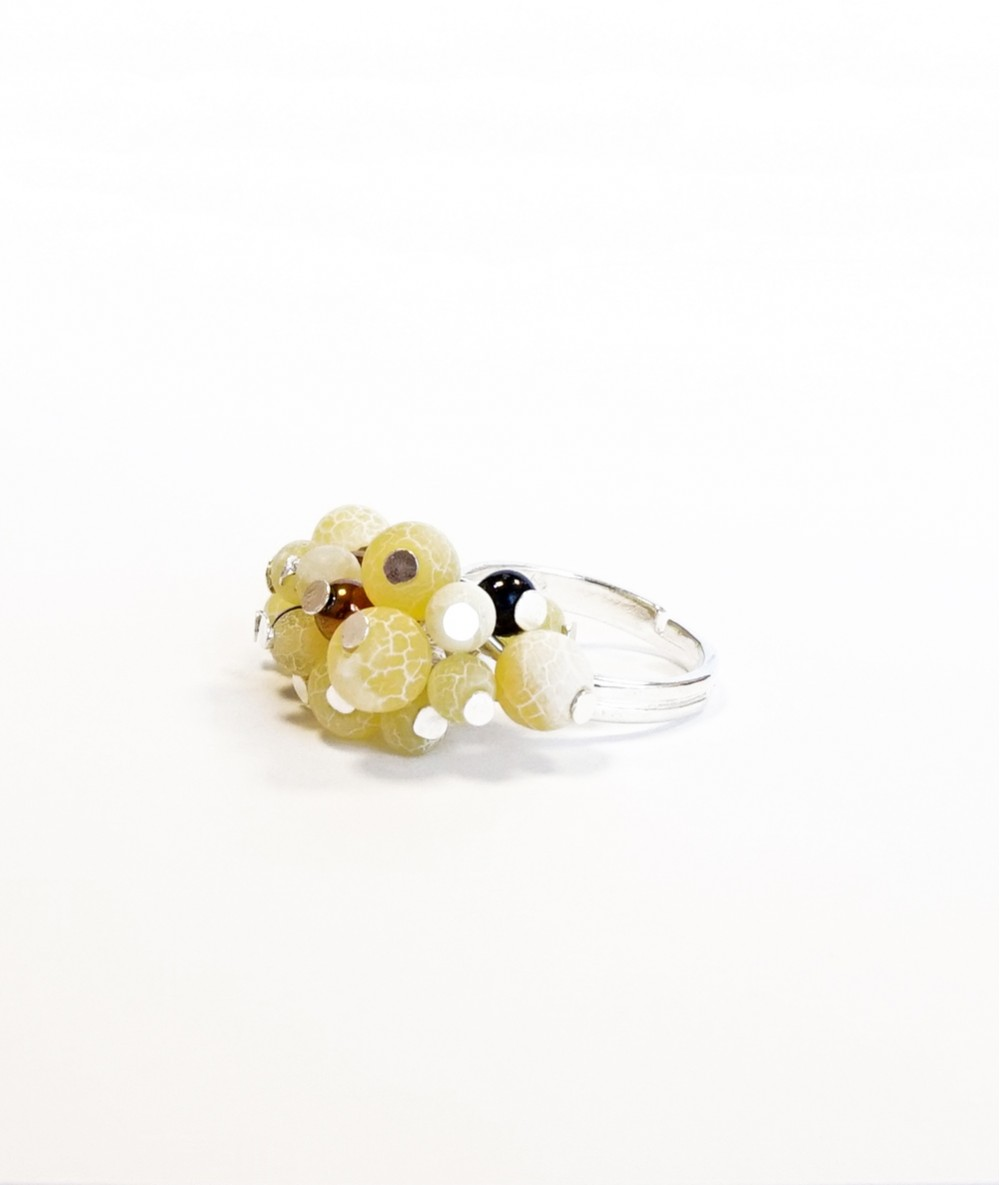 Inel cristale galbene